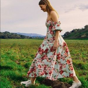 Laura Ashley UO Floral Georgia Off Shoulder Dress